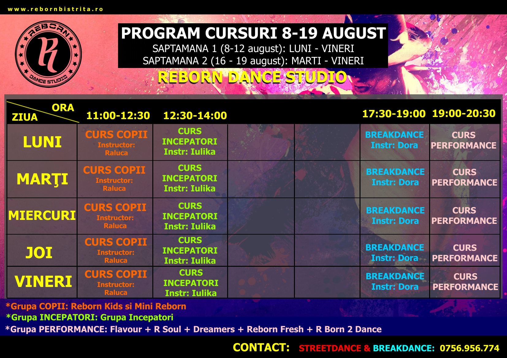 Cursuri Intensive de street dance si breakdance in luna AUGUST